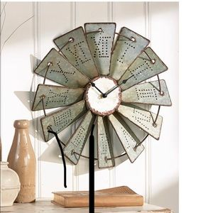 Farmhouse windmill clock, brand new in box!